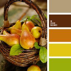 бежевый, грушевый цвет, желтый, оранжевый, осенняя гамма, оттенки коричневого, салатовый, темный коричневый, цвет груши, цвет дерева, цвета осени 2017, шафрановый, яркий желтый, яркий салатовый.