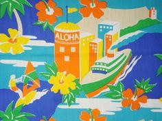Aloha Hawaii-Blue sea-Green Orange-Cotton Printed-Hand craft supply-Beach cloth-Head band fabric-Bikini fabric-Sunny garment-2Y50cm by HeavenKnow on Etsy