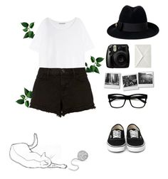 """""""Black and white🖤"""" by alena-sky ❤ liked on Polyvore featuring Acne Studios, J Brand, Gucci and Fujifilm"""