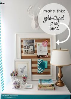 Try this quick & easy DIY cork board project to bring a little pizazz to your office space! Printer Station, Gold Office Accessories, Apartment Needs, Cheap Desk, Office Files, Office Printers, Organize Your Life, Gold Stripes, Room Inspiration