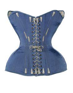 Medium blue ribbed silk corset: 1851-1860