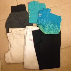 Girls size 12 bundle Limited too tan cropped pants (sz 10 reg), white  Chrystal Vogue sz 14 but fits like a 10/12, black Hanes sweatpants. Grey/black puff mini skirt sz 10 and blue/green Justice glittering swaying tank top. Limited Too tan crops have a couple small tan spots on front. Last pic Price reflects condition. Justice Bottoms Casual