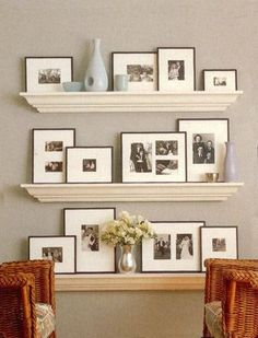 Floating shelves – over toilet, desk, table. Would love to do this with the old black and white pictures of my grandparents.