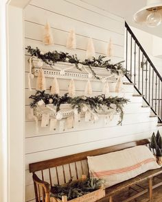 Bringing the nostalgia of yesteryear through a simple DIY of Christmas cheer. Days Until Christmas, Cozy Christmas, Vintage Christmas, Vintage Vignettes, Christmas Giveaways, Hanging Garland, Diy Advent Calendar, Bottle Brush Trees, Christmas Decorations