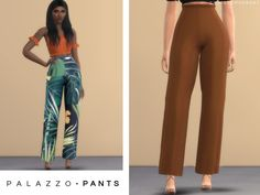 These are a set of standard palazzo pants that are fitted to flared near the ankle. With the addition of frill on the waistband for added style. Found in TSR Category 'Sims 4 Female Everyday'  --- DONE
