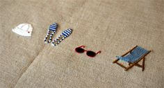 Summer espadrilles, sun glasses, chair embroidery on linen- so charming and detailed embroidery. I love this site!