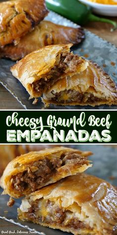 These Cheesy Ground Beef Empanadas are loaded with two types of cheese, deliciously seasoned meat, then baked to perfection. These Cheesy Ground Beef Empanadas are loaded with two types of cheese, deliciously seasoned meat, then baked to perfection. Comida Latina, Buffalo Chicken, Cheesy Chicken, Baked Chicken Tacos, Nachos, Clean Eating Snacks, Sliders, Food To Make, Cooking Recipes