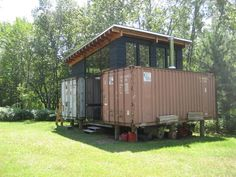Rustic, contemporary cabin in Northern Minnesota built from old shipping containers.