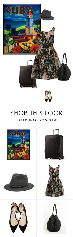 """cuba"" by mimas-style ❤ liked on Polyvore featuring Samsonite, rag & bone, Dolce&Gabbana and Jimmy Choo"
