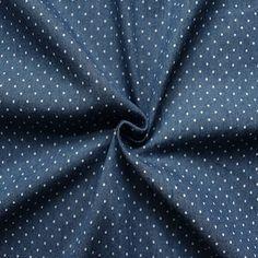 """Stretch Denim Jeans Stoff """"Punkte Mini"""" Farbe Jeans-Blau"""