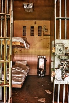 "Photograph from abandoned Tennessee State Prison. ""Typical death row cell"". The website is really fascinating. ...click on in - really come on....."