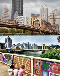 A project called Knit the Bridge brought 1,800 volunteers onto the Andy Warhol Bridge in Pittsburgh