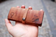 Unique Fly Fishing Wallet Personalized with pyrography and initials-hand made - pyrography leather - fishermen gift  Initials can be engraved on