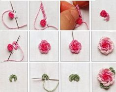Wonderful Ribbon Embroidery Flowers by Hand Ideas. Enchanting Ribbon Embroidery Flowers by Hand Ideas. Embroidery Stitches Tutorial, Flower Embroidery Designs, Paper Embroidery, Learn Embroidery, Rose Embroidery, Silk Ribbon Embroidery, Hand Embroidery Patterns, Embroidery Techniques, Cross Stitch Embroidery