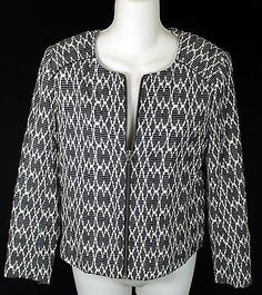J. Crew Factory Jacquard Motorcycle Jacket Womens Size XS Black White Blazer