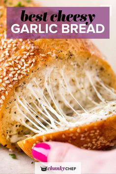 The easiest cheesy garlic bread ever! Frozen bread doesn't stand a chance against this buttery, gooey and toasty bread! #garlicbread #garlic #bread #easyrecipe #homemade #cheesy #cheesybread #italian Best Bread Recipe, Bread Recipes, Cooking Recipes, Dishes Recipes, Pork Dishes, Kitchen Recipes, Kitchen Hacks, Homemade Garlic Bread, Cheesy Garlic Bread