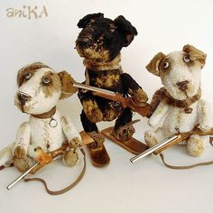 Adorable little pooches!  Anika's creations - Gallery of Teddy - мишаники от аники
