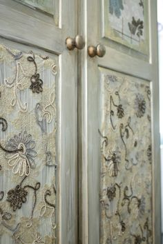 Gorgeous crewel fabric used in decoupage! What a special way to use needle work!