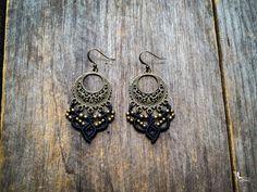 Macrame earrings gypsy bohemian jewelry by Creations Mariposa boho style