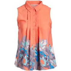 jon & anna Coral Floral Sleeveless Button-Up Top (£12) ❤ liked on Polyvore featuring plus size women's fashion, plus size clothing, plus size tops, plus size blouses, plus size, women's plus size tops, red sleeveless blouse, plus size button down blouse, long blouse and sleeveless blouse