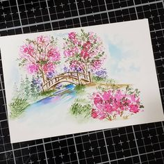 Wishing the rain would stay away! Watercolor Projects, Watercolor Plants, Watercolor Cards, Floral Watercolor, Watercolor Paintings, Watercolor Landscape, Small Canvas Art, Art Impressions Stamps, Watercolor Lettering