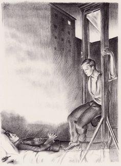 Lithographie illustrant un poème de Jean Genet