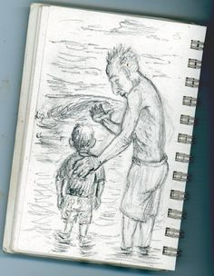 Old man talking young boy into swimming in the ocean.