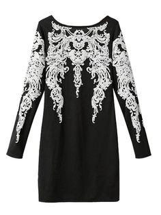 Stylish Slimming Back V Shape Print Long Sleeve Dresses