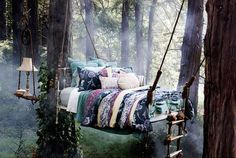 I ADORE this! Hang an old bed in the woods, and tie a ladder off it...Perfect for those times you just want peace and quiet. Unique and comforting