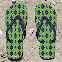 26.2 Argyle Blue/Green Flip Flops - Kick back after a marathon with these great flip flops! Fun and functional flip flops for all marathoners.