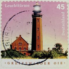 stamp Germany 45c lighthouse postage 45cent € 0.45 Germany Greifswalder OIE timbre phare allemangne Марки selo alemanha