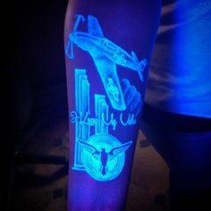 UV Blacklight Air Plane Tattoos