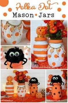Perfect for Halloween decorating - Polka Dot Mason Jars from http://cupcakesandcrinoline.com