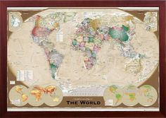 Vintage world map framed use push pins for tracking premium wood molding framed world map old world triple view in premium brown finished wood gumiabroncs Images