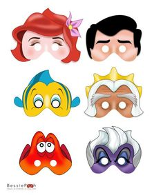 Printable MERMAID masks . Instant Download PDF file. Ariel, Eric, Flounder, Triton, Sebastian, Ursula via Etsy