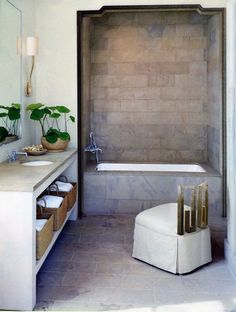 greige: interior design ideas and inspiration for the transitional home : simply beautiful greige and gold bath.love the opening shape Budget Bathroom, Bathroom Interior, Home Interior, Interior Design, Bathroom Ideas, Design Bathroom, Interior Ideas, Bathroom Inspo, Interior Modern