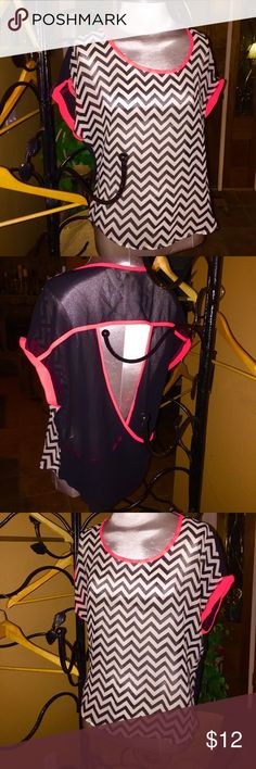 Chevron Bouse sheer so cute! Great colors, chevron blouse in black and bright coral. Sheer size M Live 4 Truth Tops Blouses