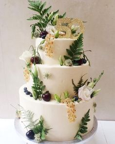 Triple tier cake for a 50th with cherries fern & whitecurrants order a bespoke cake from us anytime for any special occasion link to start building a mood board in bio