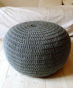 Pouf Crochet big gray by lacasadecoto on Etsy, Crochet Floor Cushion, Crochet Pouf, Knitted Pouf, Crochet Ball, Yarn Crafts, Fabric Crafts, Diy Crafts, Crochet Designs, Crochet Patterns