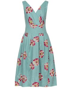 - Emily and Fin Lillian Dress in duck egg green with vintage style floating daisies print.  - Sleev
