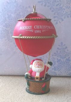 Ornament Merry Christmas Hot Air Balloon Santa 1981 #Unknown