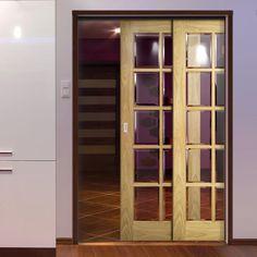 Deanta Twin Telescopic Pocket Bristol Oak Veneer Doors   10 Pane Clear  Bevelled Safety Glass   Unfinished