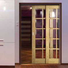 Deanta Twin Telescopic Pocket Bristol Oak Veneer Doors - 10 Pane Clear Bevelled Safety Glass - Unfinished. #pocketdoors #glazedoakdoors #telescopicpocketdoors