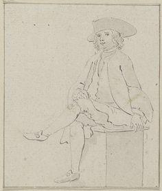 unknown | Zittende jongeman met steek, unknown, 1700 - 1799 |