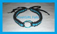 UV/Glow-in-the-dark Blue & Black O-ring Choker Collar Bondage Kandi Necklace by RivetGiRL Falls