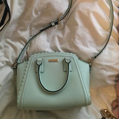 Kate spade Small cross body Kate Spade purse. Mint green. Lightly used, in great condition. kate spade Bags Crossbody Bags