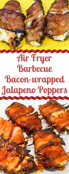 Fryer BBQ Bacon-wrapped Jalapeno Poppers are a mouthful to say – and a mouthful of flavor. They're stuffed with a garlic cream cheese filling, wrapped in bacon, and bathed in a brown sugar BBQ sauce. Bacon Wrapped Jalapeno Poppers, Stuffed Jalapenos With Bacon, Stuffed Peppers, Jalapeno Bacon, Jalapeno Recipes, Bacon Appetizers, Appetizer Recipes, Dinner Recipes, Snack Recipes