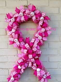 Jute Breast Cancer Awareness Ribbon Wreath