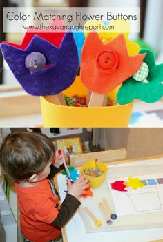 These color matching button flowers are an easy DIY for toddlers. The bright colored flowers are engaging and work on important fine motor skills.