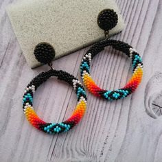 Sterling Silver Circle Ring Handmade Jewelry For Her Under 30 - Custom Jewelry Ideas Bead Embroidery Patterns, Beaded Bracelet Patterns, Beading Patterns, Beading Ideas, Loom Patterns, Beading Tutorials, Seed Bead Earrings, Beaded Earrings, Beaded Bracelets
